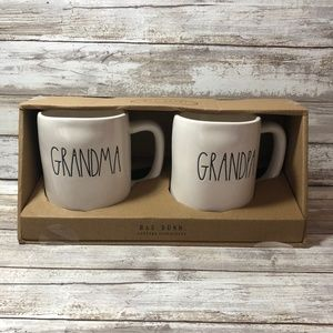 Rae Dunn GRANDMA & GRANDPA 2 Pc Mug Set New In Box